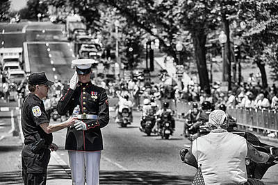 Vietnam Veterans Memorial Wall Photograph - Police Officer And The Marine by Tom Gari Gallery-Three-Photography