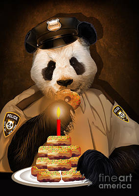 Digital Art - Police Panda Love Donuts by Three Second