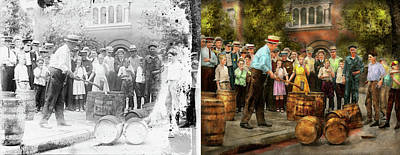Photograph - Police - Prohibition - A Smashing Good Time 1921 - Side By Side by Mike Savad