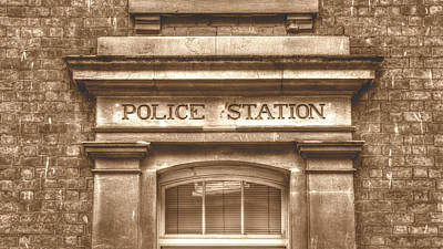 Photograph - Police Station Carved In Stone Capital Letters Vintage Hdr Sepia by Jacek Wojnarowski