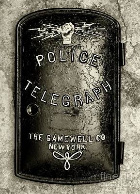 Photograph - Police-the Police Telegraph In Black And White by Paul Ward