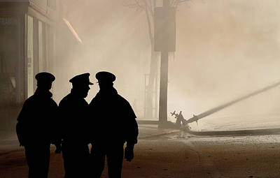 Destruction Digital Art - Police Watching Firefighters During Moose Jaw New Years Fire by Mark Duffy