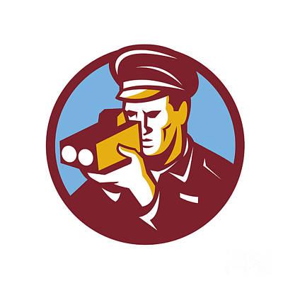 Police Officer Digital Art - Policeman Speed Camera Scanning Circle Retro by Aloysius Patrimonio