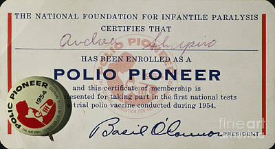 Photograph - Polio Certificate, 1954 by Granger