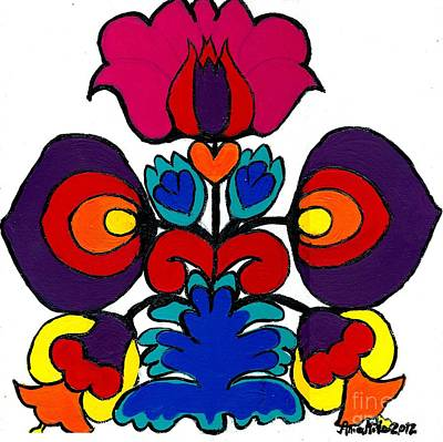 Painting - Polish Folk Art Flower I by Ania M Milo