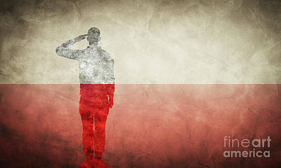 Photograph - Polish Grunge Flag With Soldier Silhouette. by Michal Bednarek