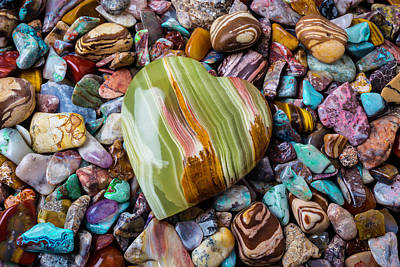 Photograph - Polished Rocks And Heart Stone by Garry Gay