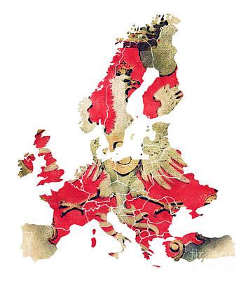 World Map Digital Art - Political Europe Map by Justyna JBJart
