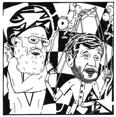 Political Maze Cartoon Of Khamenei And Ahmadinejad As His Puppet Art Print by Yonatan Frimer Maze Artist
