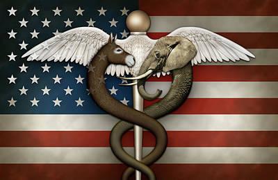 Digital Art - Political Medical Symbol And Flag by James Larkin