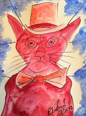 Painting - Politicats 1 Why Isn't The Wall Built Already Potus Answer Congress Obstructionists by Richard W Linford