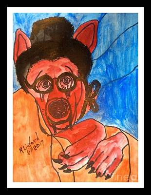 Painting - Politidogs Copyright Grandmother Radical Islam What Great Teeth And Claws You Have by Richard W Linford