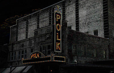 1950s Movies Painting - Polk Movie House by David Lee Thompson