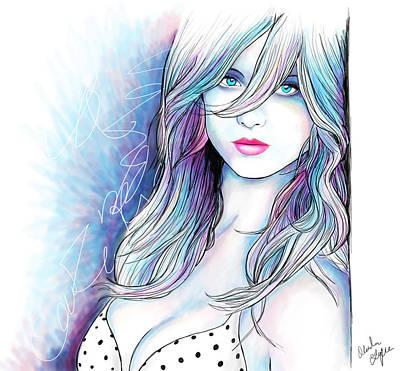 Pink Lips Drawing - Polka Dot Beauty by Alexandra Franzese