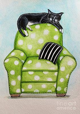 Black And White Cat Painting - Polka Dot Snoozes by Elizabeth Robinette Tyndall