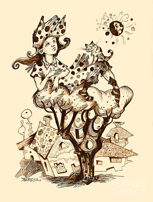 Sepia Ink Drawing - Polka Dot Thoughts In Sepia by Theresa Taylor Bayer