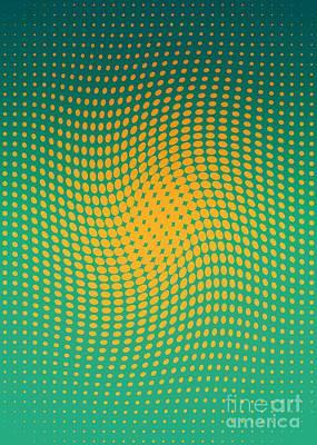 Tangerines Drawing - Polka Dots With A Twist Orange And Green Op-art by Heidi De Leeuw