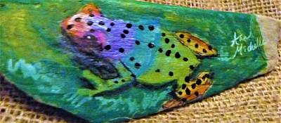 Mixed Media - Polka-dotted Rainbow Frog by Ann Michelle Swadener