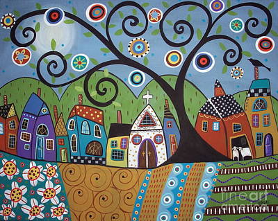 Colorful Contemporary Painting - Polkadot Church by Karla Gerard