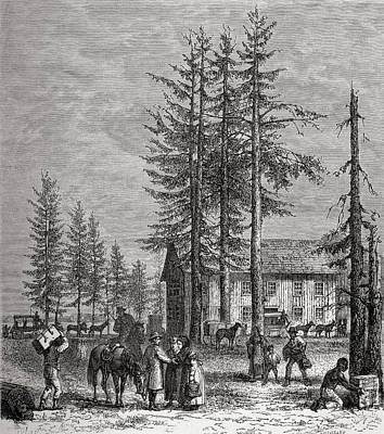 Stagecoach Drawing - Pollard Station On Lake Donner by Vintage Design Pics