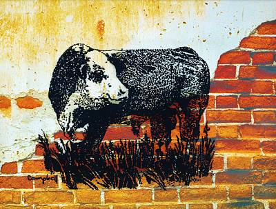 Primitive Drawing - Polled Hereford Bull  by Larry Campbell