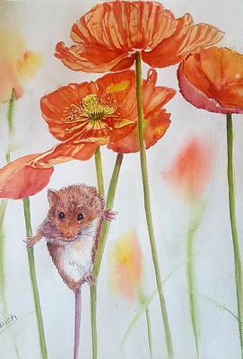 Poppies Field Painting - Pollen Shower And Poppy by Patricia Pushaw