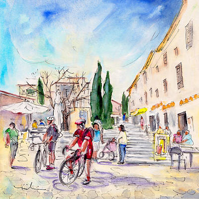 Cycling Drawing - Pollenca 02 by Miki De Goodaboom