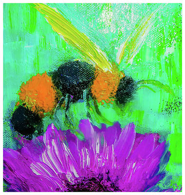 Digital Art - Pollinating Bee Painting By Lisa Kaiser by Lisa Kaiser