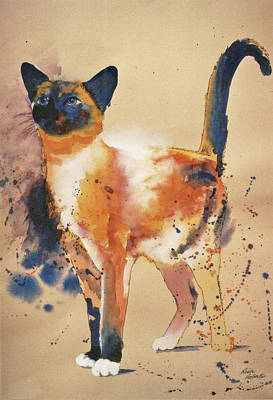Funny Cat Painting - Pollock's Cat by Eve Riser Roberts