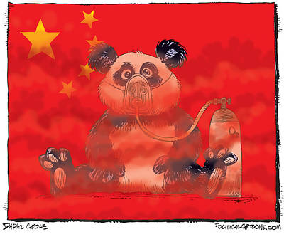 Drawing - Pollution In China by Daryl Cagle