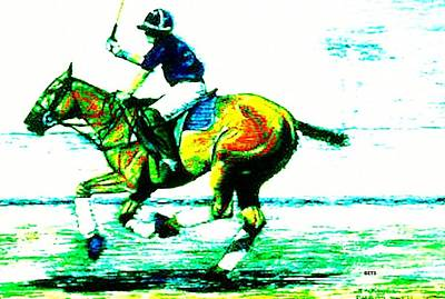 Polo Down The Field Yellow And Green Art Print by Bets Klieger