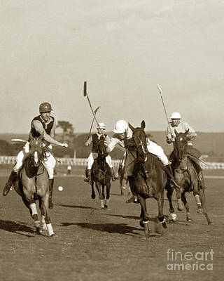 Photograph - Polo Game At Del Monte, Aiden Roark, Cecil Smith, Willie Tevis,  by California Views Archives Mr Pat Hathaway Archives