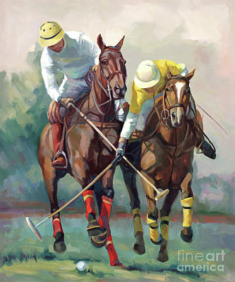Horses In Art Painting - Polo Hein by Laurie Hein