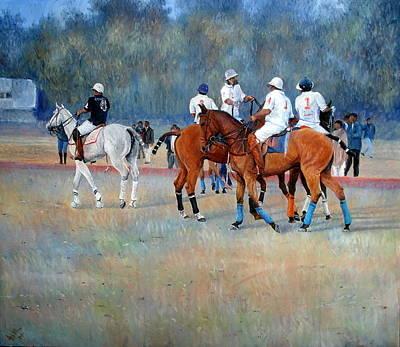 Polo Horses Painting Art Print by Abid Khan