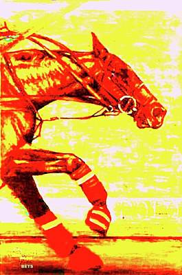 Polo Painting - Polo Painting Breakaway Yellow And Orange by Bets Klieger