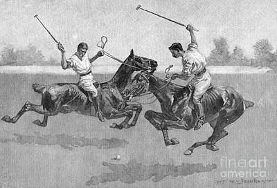 Horse Drawing - Polo Players by Frederic Remington