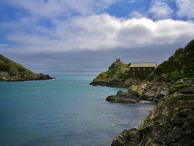 Photograph - Polperro Harbour Entrance And Chapel Rock Cornwall by Richard Brookes