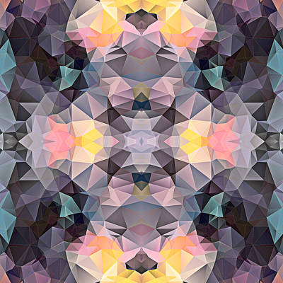Polygon Mosaic Design Super 20 Art Print by Elaine Plesser