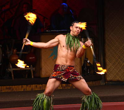 Polynesian Fire Dancing Art Print by Denise Mazzocco