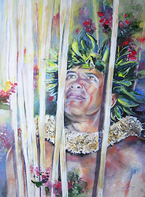 Painting - Polynesian Maori Warrior With Spears by Miki De Goodaboom