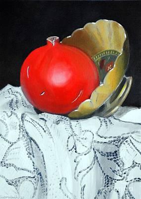 Pomegranate And Pot Art Print by Kostas Koutsoukanidis
