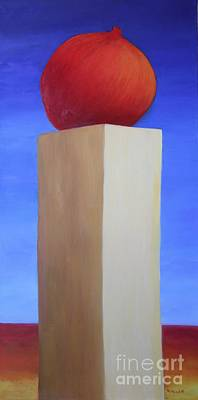 Painting - Pomegranate At Sunrise, A Tribute To Larraz by Mary Erbert