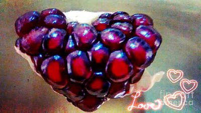Print featuring the digital art Pomegranate Heart by Genevieve Esson