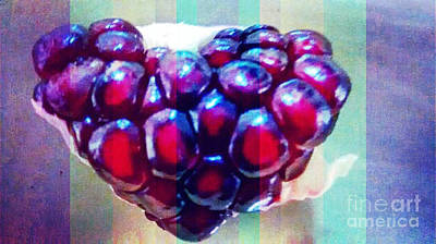 Painting - Pomegranate Heart In Stripes by Genevieve Esson