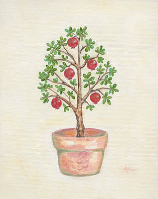 Pruning Painting - Pomegranate Tree by Annamarie Lombardo