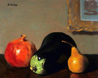 Painting - Pomegranate, Eggplant And Bosc Pear by Robert Holden