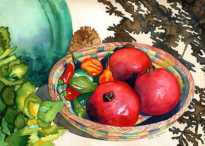 Painting - Pomegranates And Basket by Eunice Olson