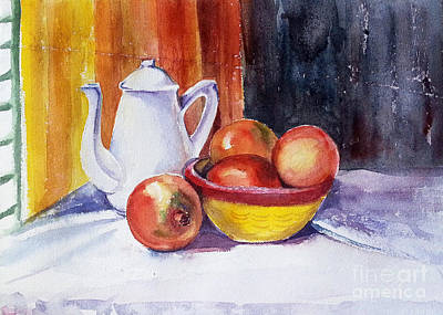 Painting - Pomegranates And Tea-pot by Asha Sudhaker Shenoy