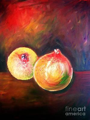 Pomegranates From My Garden Art Print by Anastasis  Anastasi
