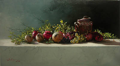 Painting - Pomegranates-grapes With Avase by Demetrios Vlachos